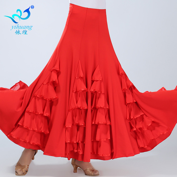 Dynamic Lady Ballroom Dancing Skirt Modern Dance Costumes Female National Standard Dance Half Skirt Girls Swing Practice Long Suit D0043 Special Summer Sale Novelty & Special Use