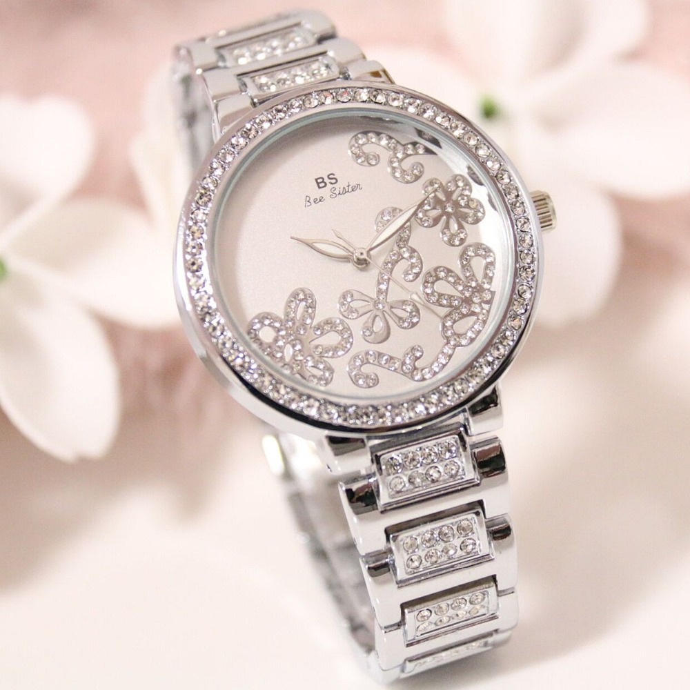 New Arrivals Famous Brand BS Full Diamond Quartz Rose Watch Lady Shinning Dress Watch Bling Crystal Bangle Women Bracelet Watch 2017 new arrivals famous brand full diamond luxury women watch lady dress watch rhinestone bling crystal bangle watches female