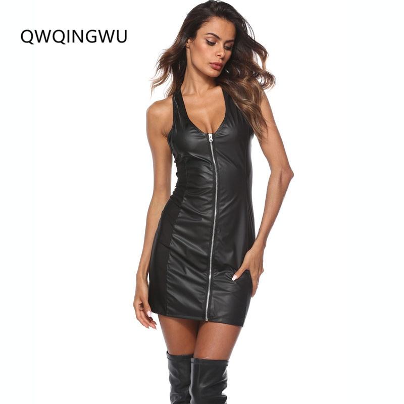 Buy Sexy Women Erotic Tank Clubwear PU Metallic Leather Sheath Latex Zipper Tight Night Dress Fetish Rubber Wetlook Catsuit Dress