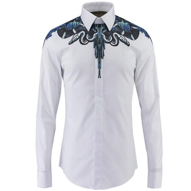 2016 Marque Shirt Imprimé Hommes Serpent Hommes Chemise de luxe vwxxRqCOT 9c1d440eb12