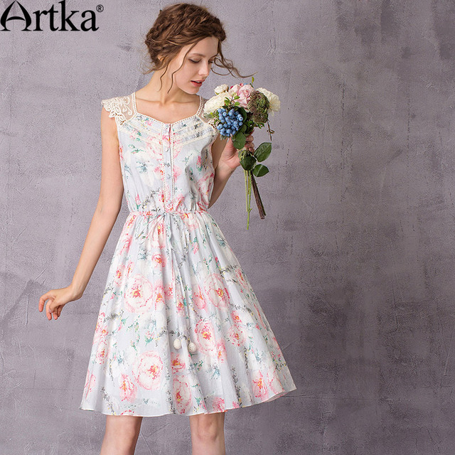 Artka Fl Women S Dresses 2017 Summer Dress Female Casual Lace Vintage Plus Size