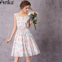 Artka Women S 2017 Spring Floral Printed Lace Patchwork Cotton Dress Vintage V Neck Sleeveless Drawstring