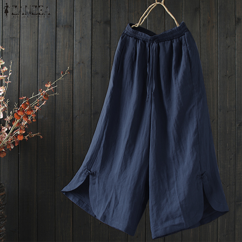 2018 Summer Fashion ZANZEA Solid OL Long Pantalon Women Casual Elastic Wasit Pockets Trousers Cotton Linen Split Wide Leg Pants
