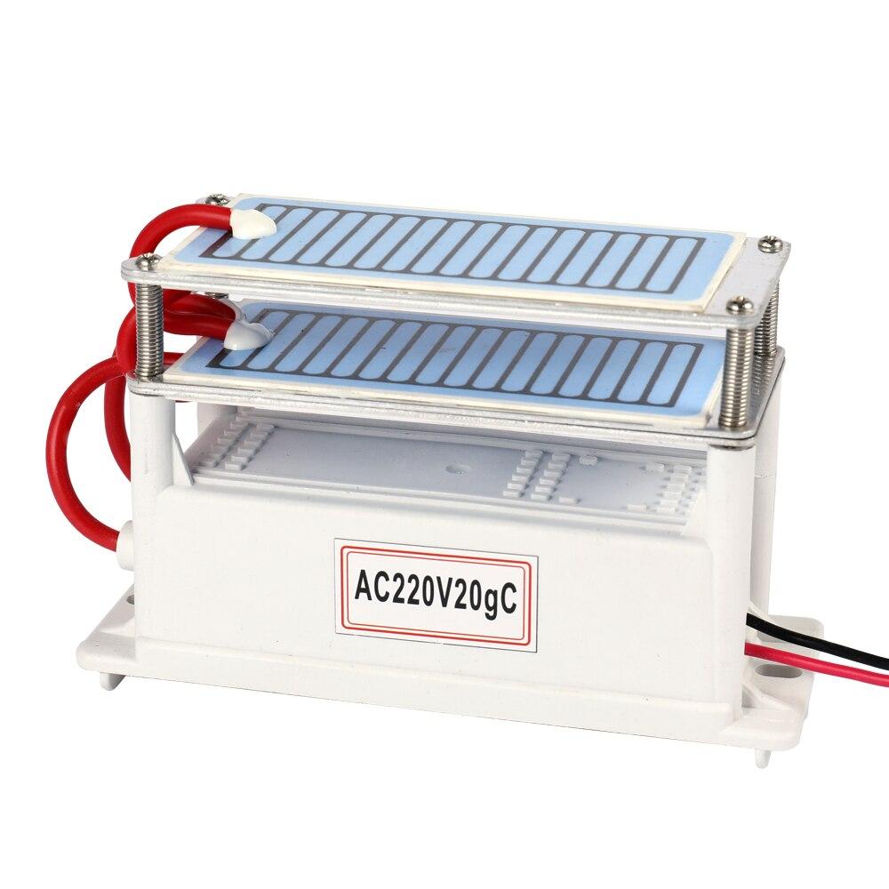 Tragbare Keramik Ozon Generator AC220V 7g/10g/20g Doppel Integrierte Lange Lebensdauer Keramik Platte Ozonisator luft Wasser Luftreiniger