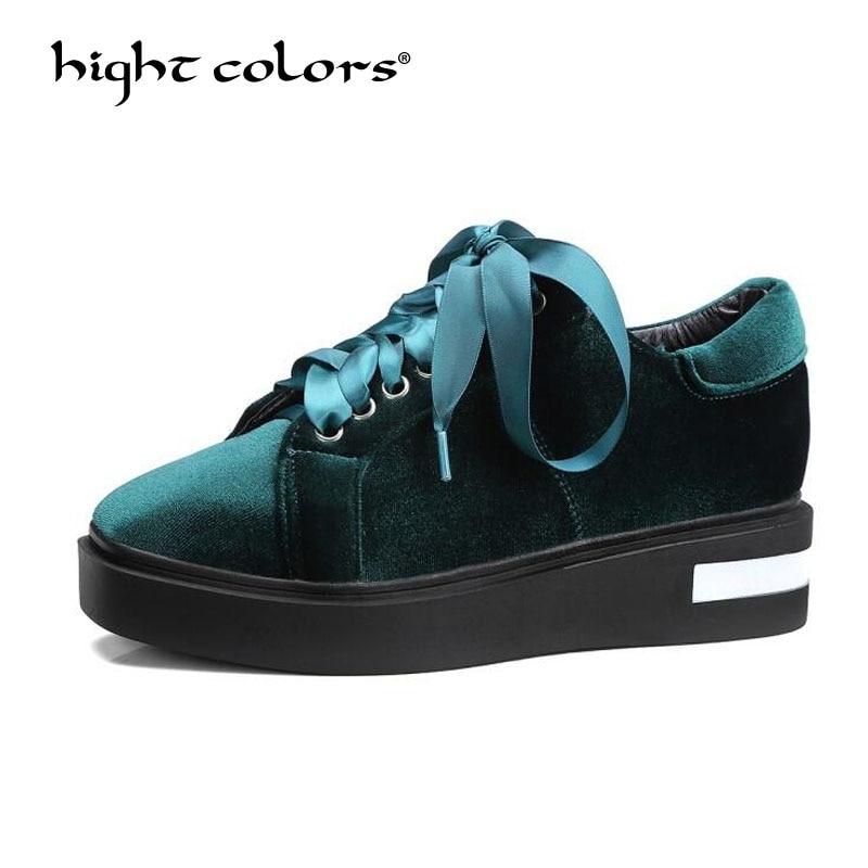 Hight Couleurs Nouveau Velours Casual Chaussures Vin Rouge GreenThick Fond Femmes lacent Plate-Forme Vulcaniser Chaussures Chaussure Femme US10.5