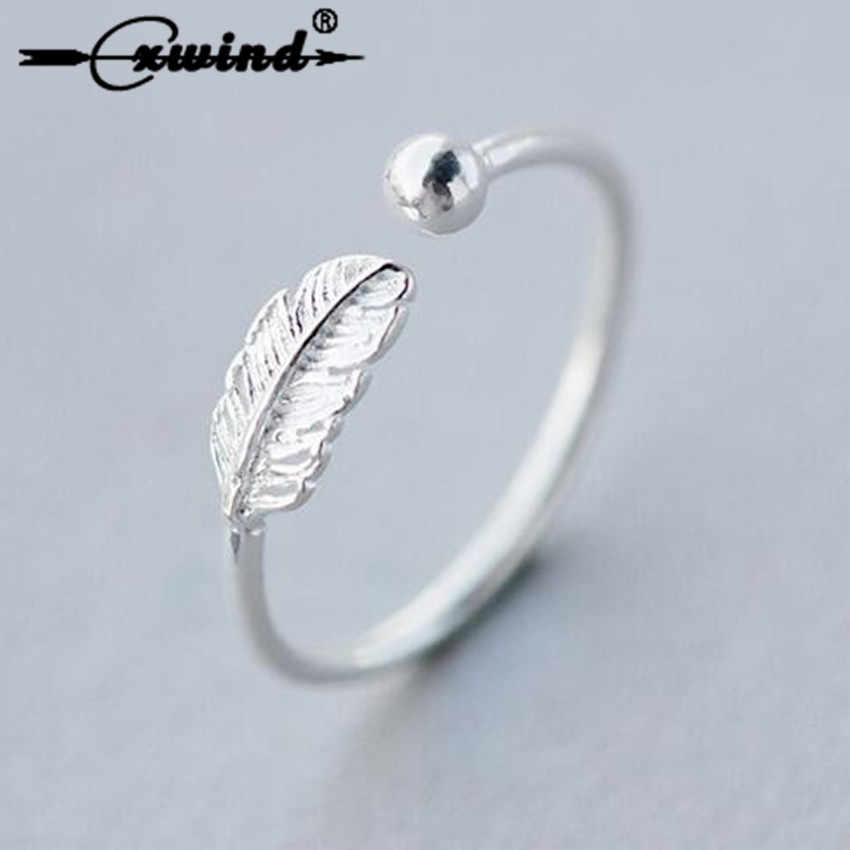 Cxwind Unique Design Adjustable Feathers Leaf Bead Rings for Women Girl Party Charm Thumb Finger Toe Ring Statement Jewelry