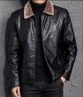 2018 New Style Men Leather Clothing Long Sleeve Solid Color Jackets Warm Cotton Plus Size Male Tops Turn Down Collar Clothes