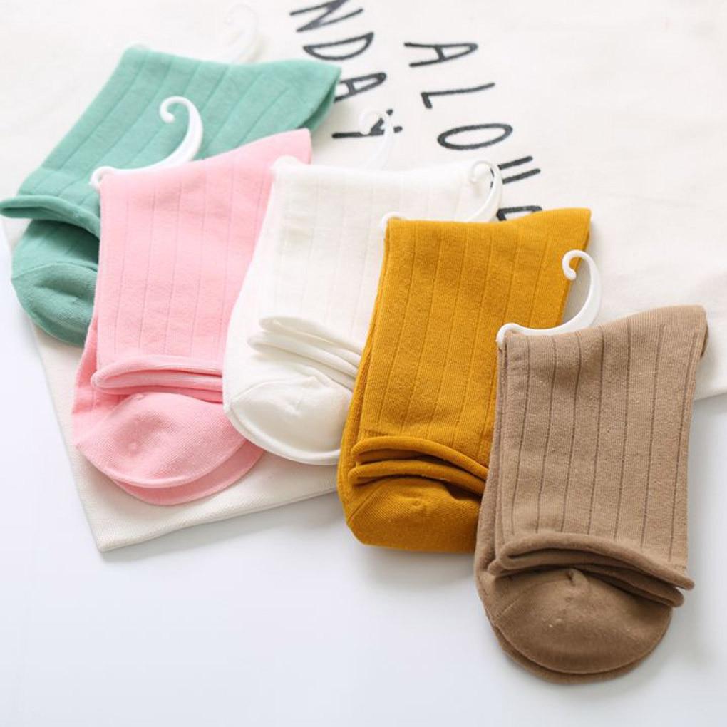 Women Girl Autumn Winter Cotton Loose Roll Up Socks Middle Tube Socks