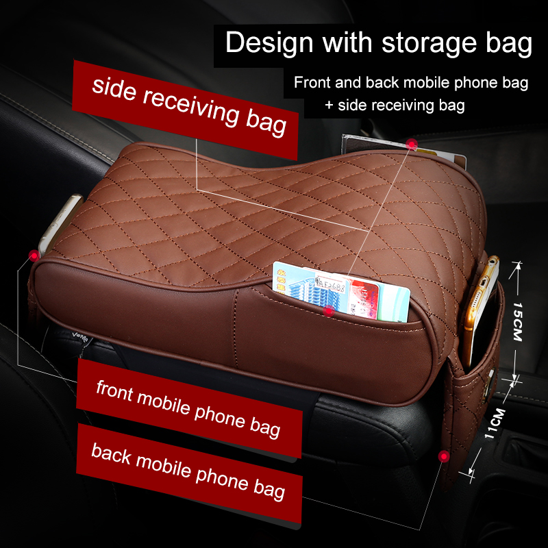 Car Styling 2018 New Leather Car Armrest Pad Universal Auto Armrests Center Console Armrest Seat Box