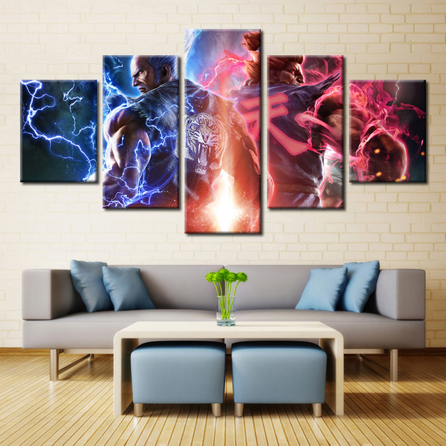 5 Panel Tekken 7 Computer Games Wall Art Modular Picture Modern Home  Decoration Living Room Or