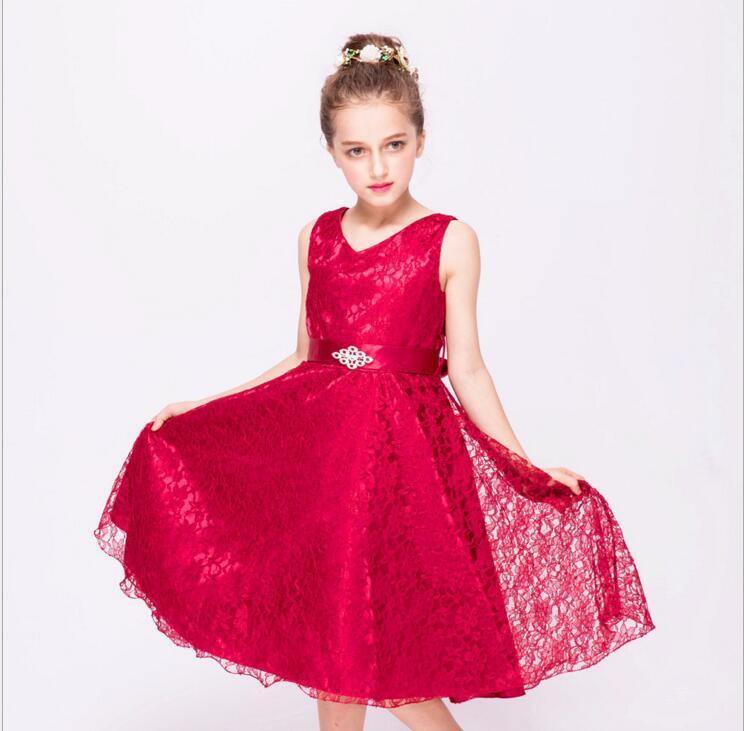 3-12Y Girls party wear clothing 2017 children summer sleeveless lace princess wedding dress girls teenage well party prom dress цена