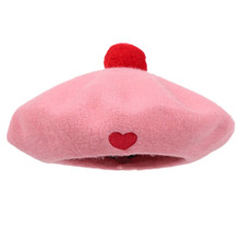 Lolita Girls Baby Pink Manga Heart Pom Pom Beret Hat Kawaii Cute Painter Beret Cap pink pom pom design scoop neck 3 4 length sleeves t shirt
