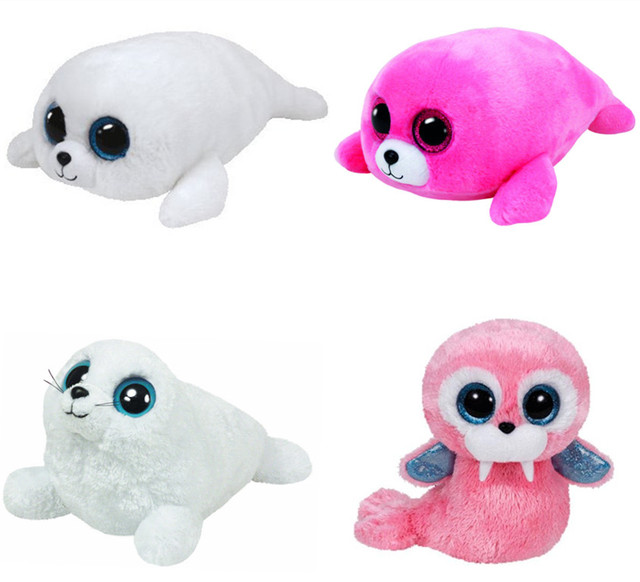 61fc1d6088c Ty Beanie Boos ICY Iceberg Seal Pierre Tusk Pink Walrus Cute Plush Toy  Stuffed Animal Big Eyes 6   15CM Kids Toys for Children