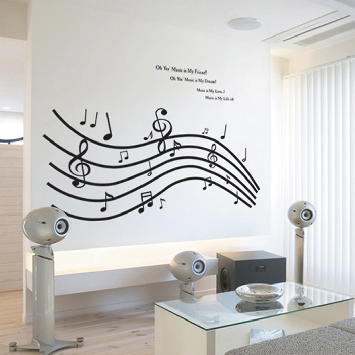 Merveilleux Large DIY Music Notes Stave Wall Stickers Wall Decals Decoration Adhesive  To Wall Art Papel De Parede Adesivo In Wall Stickers From Home U0026 Garden On  ...