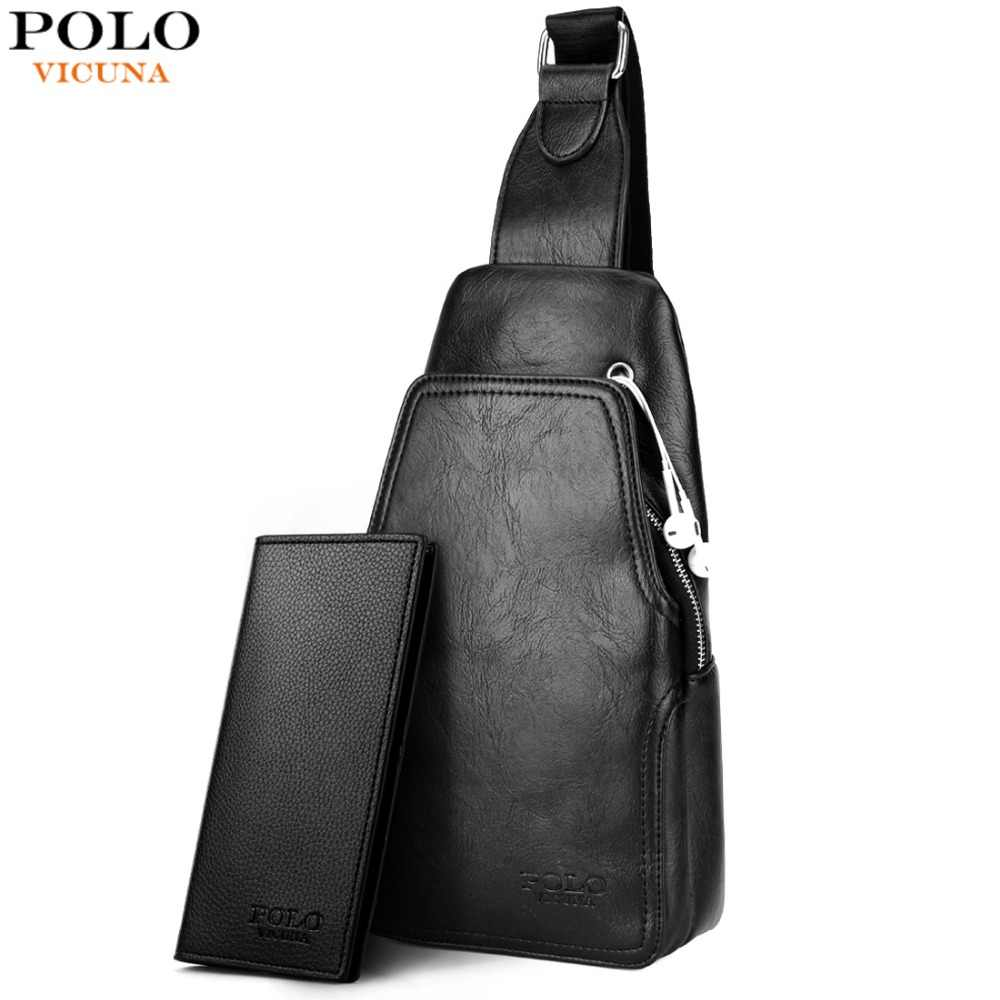 Vicuna Polo Fashion Kulit PU Berkualitas Tinggi Pria Messenger Tas Praktis Crossbody Bahu Tas untuk Pria Kasual Dada Tas Selempang