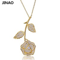 JINAO Fashion Charm Flower Rose Necklaces Pendants Silver Gold Color Copper Necklace Romantic Jewelry Symbol Of
