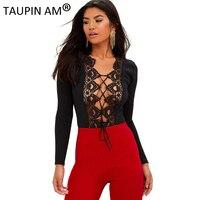 TAUPIN AM Eyelash Lace Sexy Bodysuit Women Autumn Lace Up Long Sleeve Bodysuit Jumpsuit Romper Party