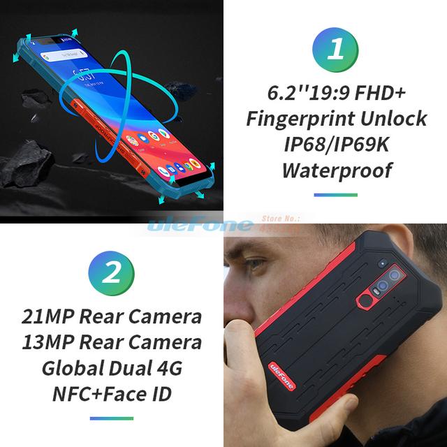 Ulefone Armor 6 IP68 Waterproof Mobile Phone Helio P60 6GB+128GB 6.2″ 19:9 FHD+ 5000mAh Android 8.1 Smartphone NFC Face Unlock