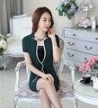 Summer Formal Green Blazeer Women Business Suits with Skirt and Jacket Sets Elegant Ladies Beauty Salon Office Uniform Designs