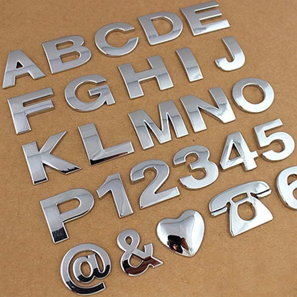 6 pcs personalized stickers 3d chrome letters for cars metal letters logo sticker emblem digital figure