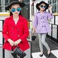 Primavera Invierno Niños Casaco Menina Doble Chaqueta Breasted Rojo Púrpura Rosado de Color Caqui Cazadora Outwear la Ropa de Color Sólido Capa de Las Muchachas