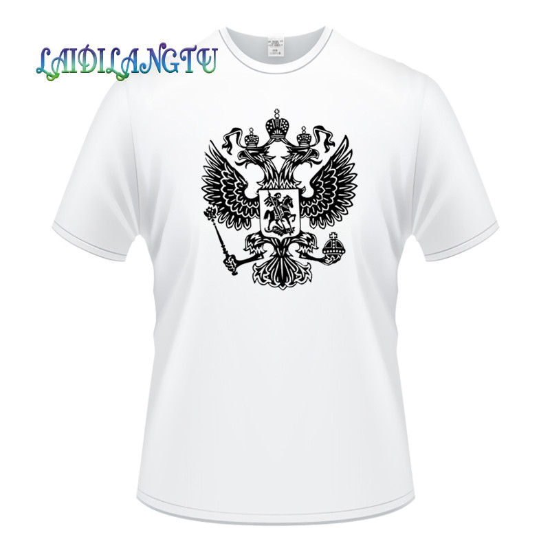 Men Adult T Shirt Coat of Arms of Russia Nickel Russian Federation Short Sleeve Cotton Man Tshirts T-shirt Tops Tees