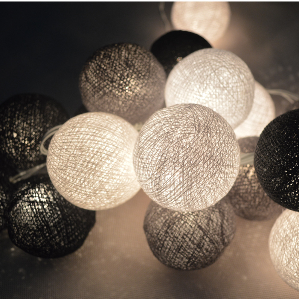 20pcs/set String Light Cotton Balls Fairy Party Wedding Holiday Decor Patio Tone Art Home Gray-Black-White Mixed