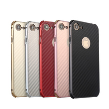 For Apple iphone 8 Case Aluminum Metal Frame+Carbon Fiber Hard Back Cover Case for iphone 8 Shockproof Phone Shell i8 4.7 inch cross tribe design aluminum metal coated hard shell case for iphone 5s 5