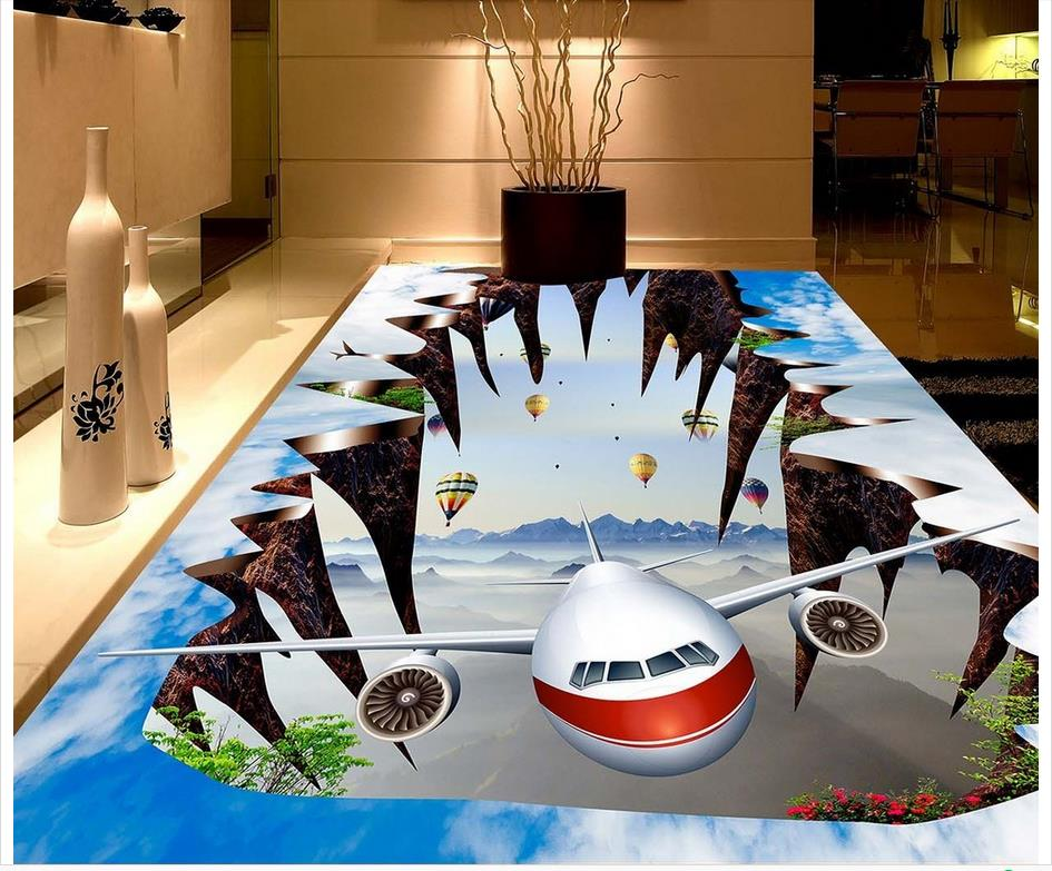 Modern Custom 3D Floor Mural Blue Sky And White Hot Air Balloon Stickers PVC Wall Paper Self-adhesive Floor Mural