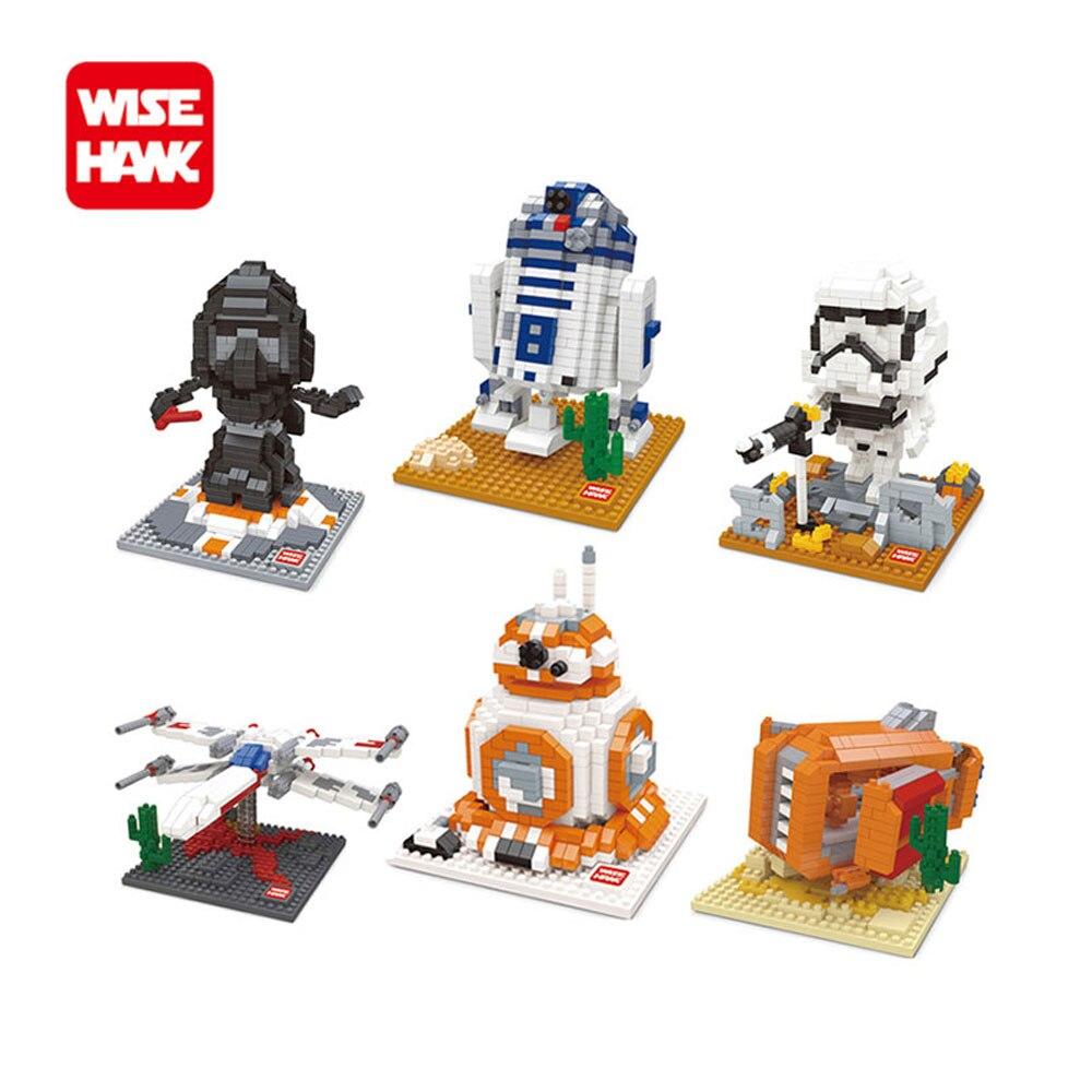 где купить Wise hawk Mini Blocks Star Wars Kawaii Yoda Darth Vader DIY Model Building Blocks Stormtrooper BB8 Star Wars Bricks Boys Toys. по лучшей цене