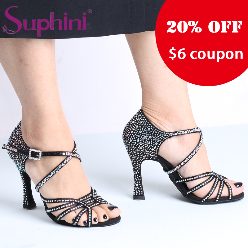 Free Shipping Suphini NEW IN Starry Black Latin Dance Shoes free shipping suphini new in starry latin dance shoes red salsa dance shoes