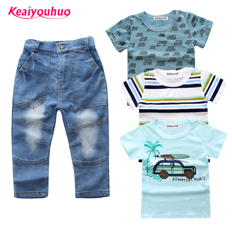 Children Clothing sets 2017 new baby boys clothes summer 3pcs T-shirt+denim trousers 4 pcs / Set kids clothes for 2-7 years