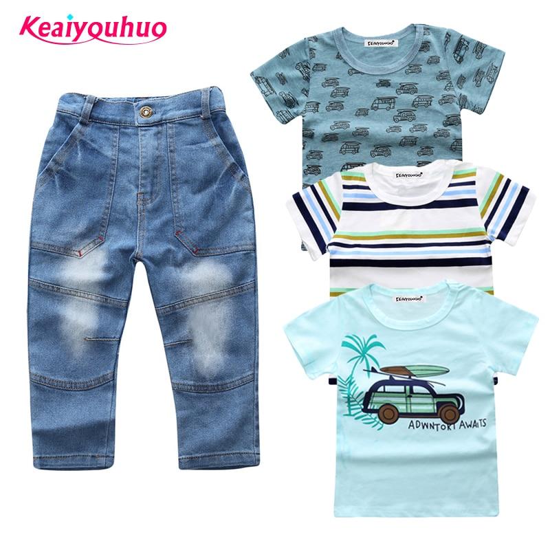 Children Clothing sets 2018 Fashion baby boys clothes summer 3pcs T-shirt+denim pants 4 pcs /suits kids clothes for 2-7 years