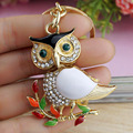 Delicate Owl Crystal Rhinestone Metal Bag Pendant Chic Key Holder Keyring Keychain For Car K179