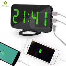 Mrosaa Wireless Electronic LED Digital Alarm Clocks Desktop Decoration Auto-Brightness-Adjust Snooze Table Clock with Dual USB