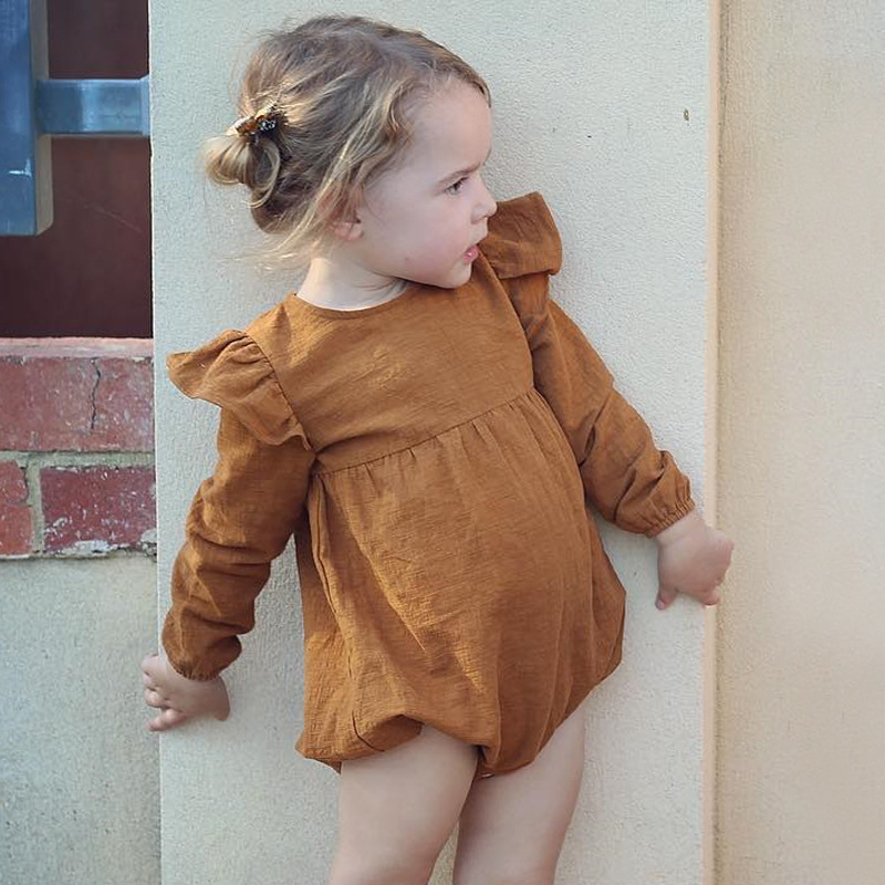 Girls Romper Vintage Ruffle Fly Sleeve Long Sleeve Autumn Rompers Button Cute Retro Brown Purple Toddler Infant Baby Clothes D25