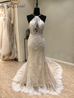 New Sexy Beach Wedding Dresses 2018 O Neck Off The Shoulder Court Train Appliques Tulle Backless