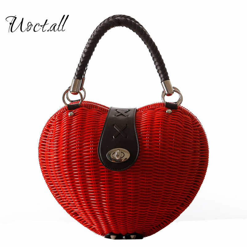 New Love Heart-shaped Rattan Bag Japanese Hand-woven Bag Women Lauxury Handbag Cute Straw Tote Party Bag Sac A cute love heart hollow out bracelet watch for women