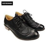 Nouveau Printemps Vintage Mode Femmes Talons Bas Chaussures Style Britannique Rétro Fringe Tassel Wingtip Derbies Lacent Oxford Chaussures Noir