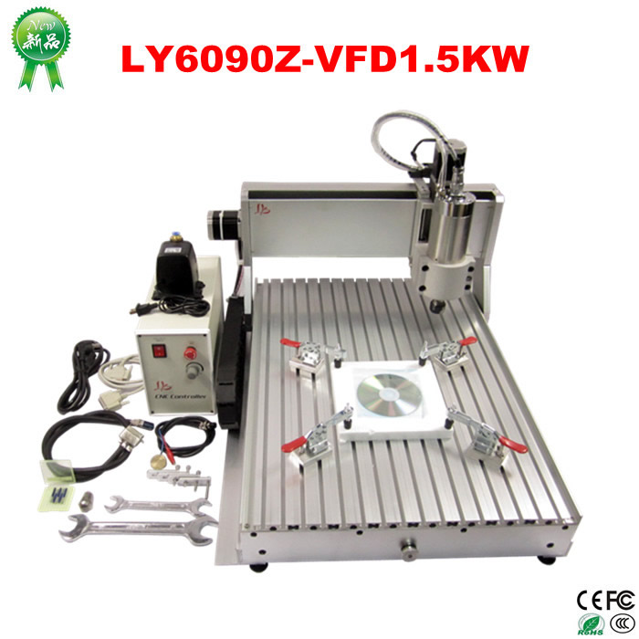 top quality! CNC engraving machine 6090Z-VFD1.5KW 3axis CNC milling machine for wood metal aluminum carving and drilling eur free tax cnc 6040z frame of engraving and milling machine for diy cnc router