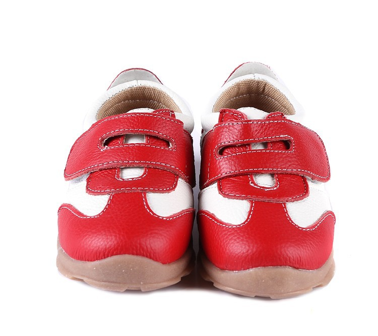 SandQ baby Boys sneakers soccers shoes girls sneakers Children leather shoes pink red black navy genuine leather flexible sole 14