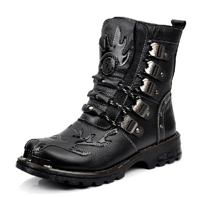 Leather platform motorcycle boots combat tactical military ...