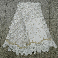 2018 New Design Good Quality French Lace Fabric With Stones White Color Tulle Lace Fabric For