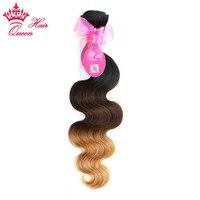 Kraliçe Saç Ombre Saç Uzantıları Ürünleri Brezilyalı Vücut Dalga 3 Ton # 1B/4/27 Remy İnsan Saç örgü Ücretsiz Kargo