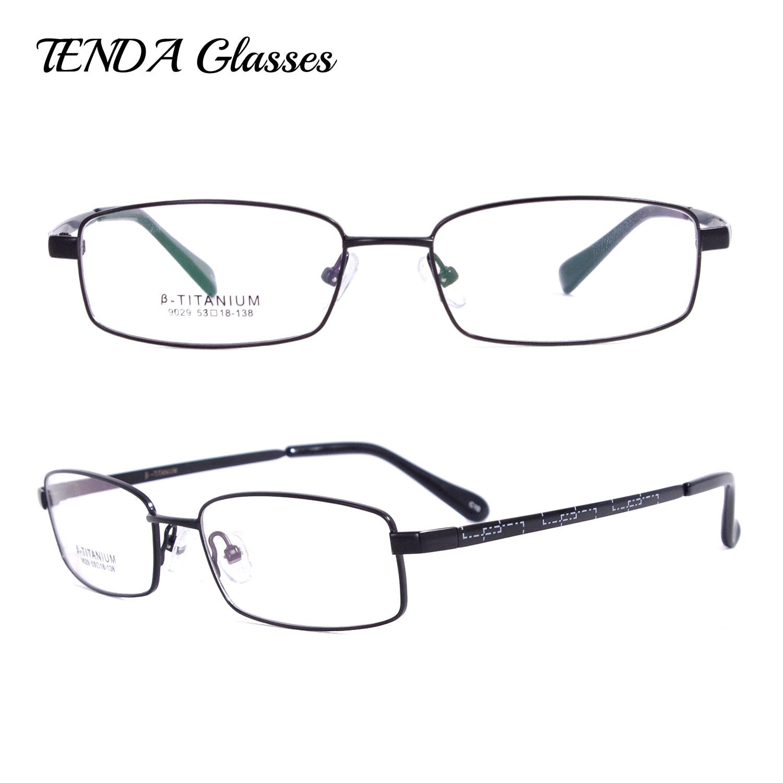 Hombres Rectangular memoria Flexible gafas marcos de titanio gafas ...