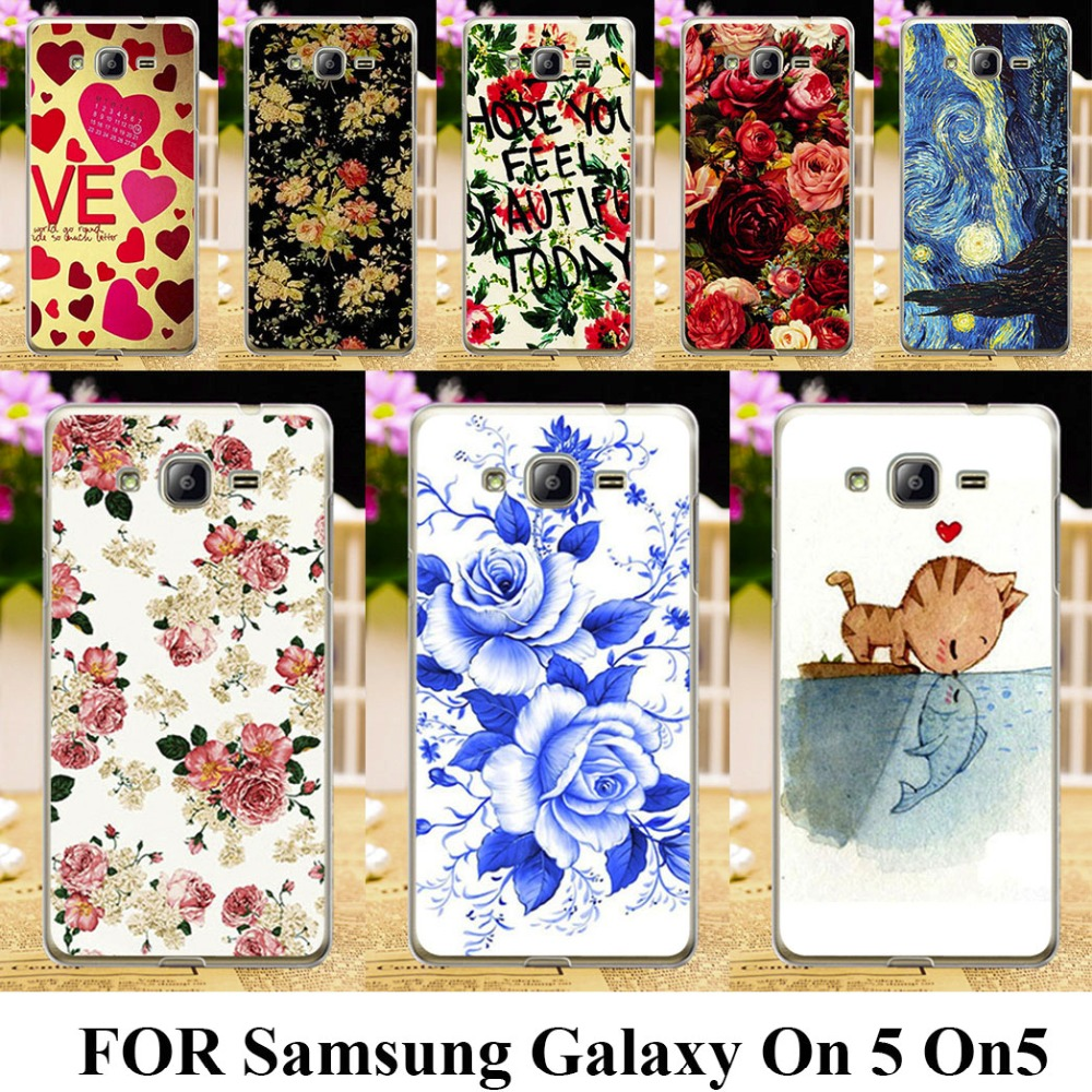 Hard Plastic Painted Phone Cases for Samsung Galaxy On 5 On5 G5500 O5 5.0 inch Cases covers Rose Peony Flowers Background shell