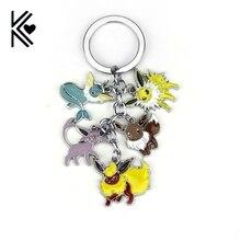 Pokemon Pocket Monster Vaporeon Eevee Flareon Espeon Jolteon 5 IN 1 Unisex Keyring Keychain Pendant Fan Gift Collectable