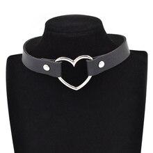 Панкая формам легированный серцам готическая чокер бижутерия шею многоцветный кожаный на