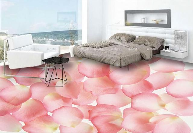 custom 3d flooring Pale pink rose petals 3d stereoscopic wallpaper ...