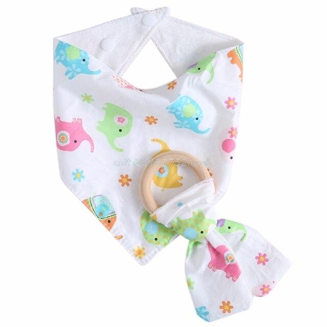 Infant Kids Baby Feeding Saliva Towel Dribble Bandana Bibs Teether Ring